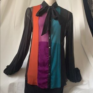 Nicole Miller bow on the neck long sleeve blouse